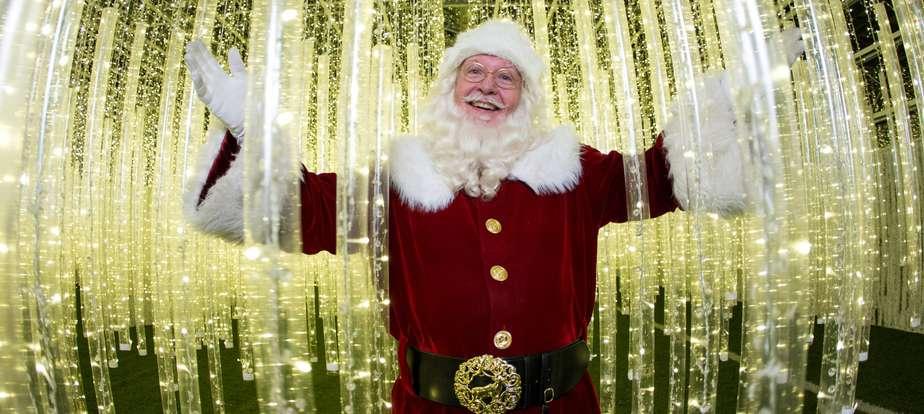 Santa Edmonton in the hanging lights